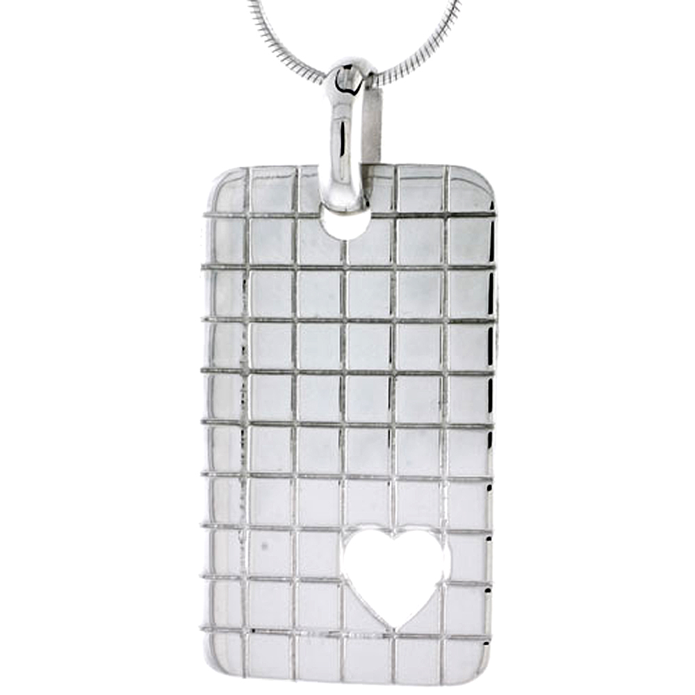 "Sterling Silver High Polished Checker Board Pattern Rectangular Pendant, w/ Heart Cut Out, 1 5/8"" (35 mm) tall, w/ 18"" Thin Snake Chain"