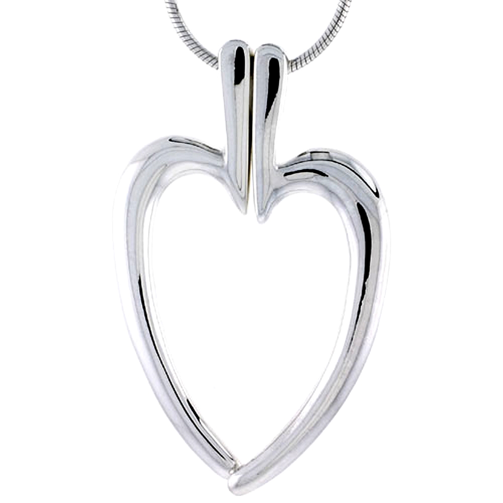 "Sterling Silver High Polished Split Heart Pendant, 1 1/8"" (29 mm) tall, w/ 18"" Thin Snake Chain"