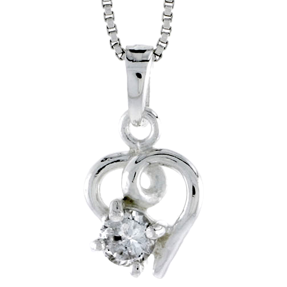 "High Polished Sterling Silver 1/2"" (12 mm) tall Heart Pendant, w/ 5mm Brilliant Cut CZ Stone, w/ 18"" Thin Box Chain"