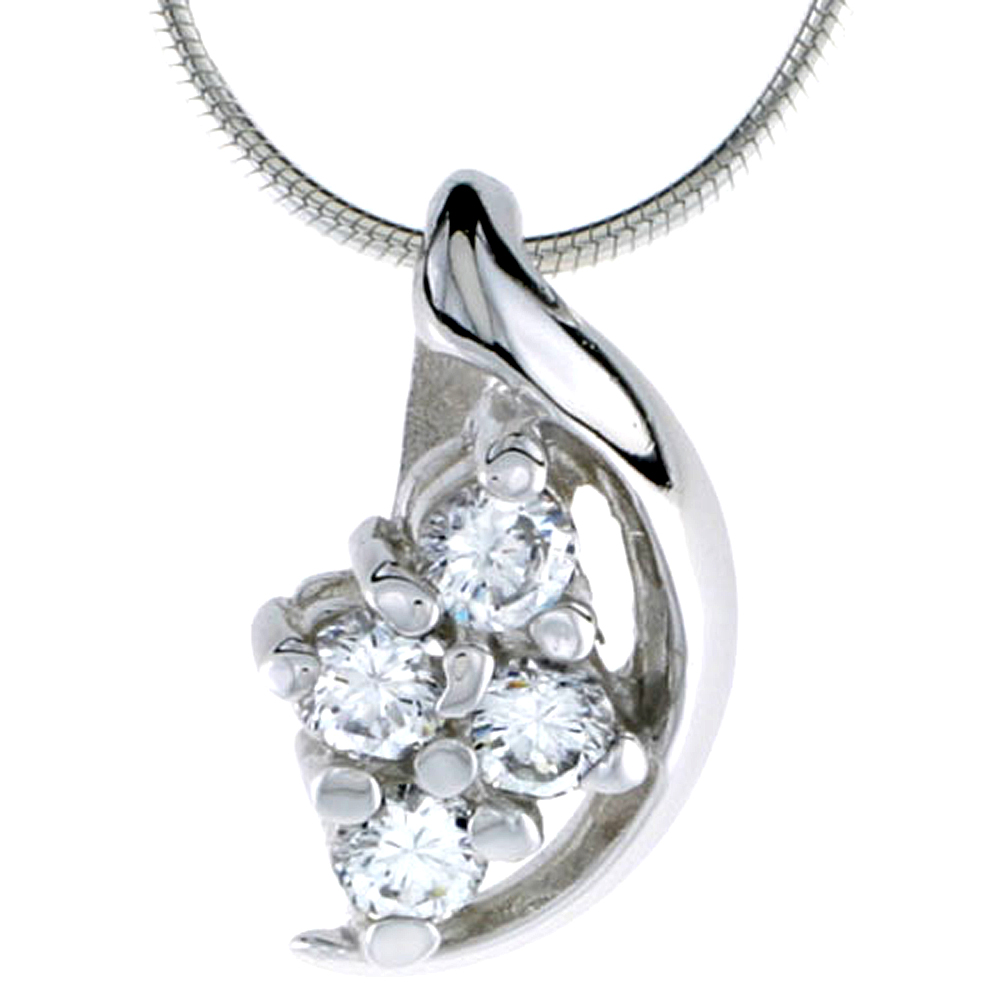 "High Polished Sterling Silver 3/4"" (19 mm) tall Cluster Pendant, w/ Four 4mm Brilliant Cut CZ Stones, w/ 18"" Thin Box Chain"