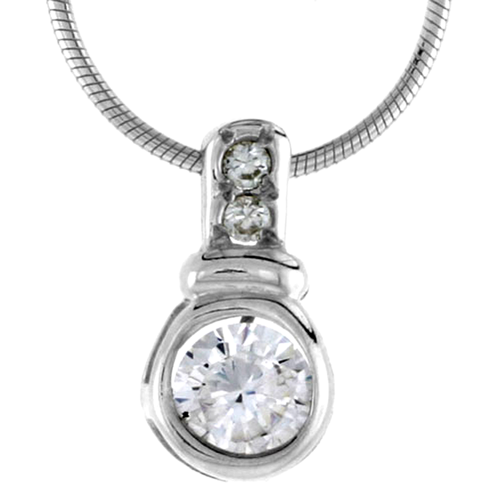 "High Polished Sterling Silver 5/8"" (16 mm) tall Enhancer Pendant, w/ one 6mm & two 2mm Brilliant Cut CZ Stones, w/ 18"" Thin Box Chain"