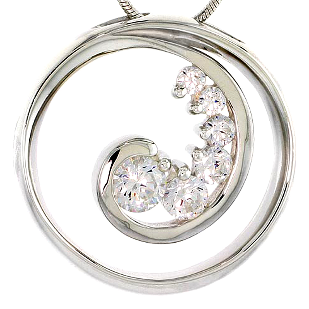 "Sterling Silver Graduated Journey Pendant w/ 6 High Quality CZ Stones, 1"" (25 mm) tall"