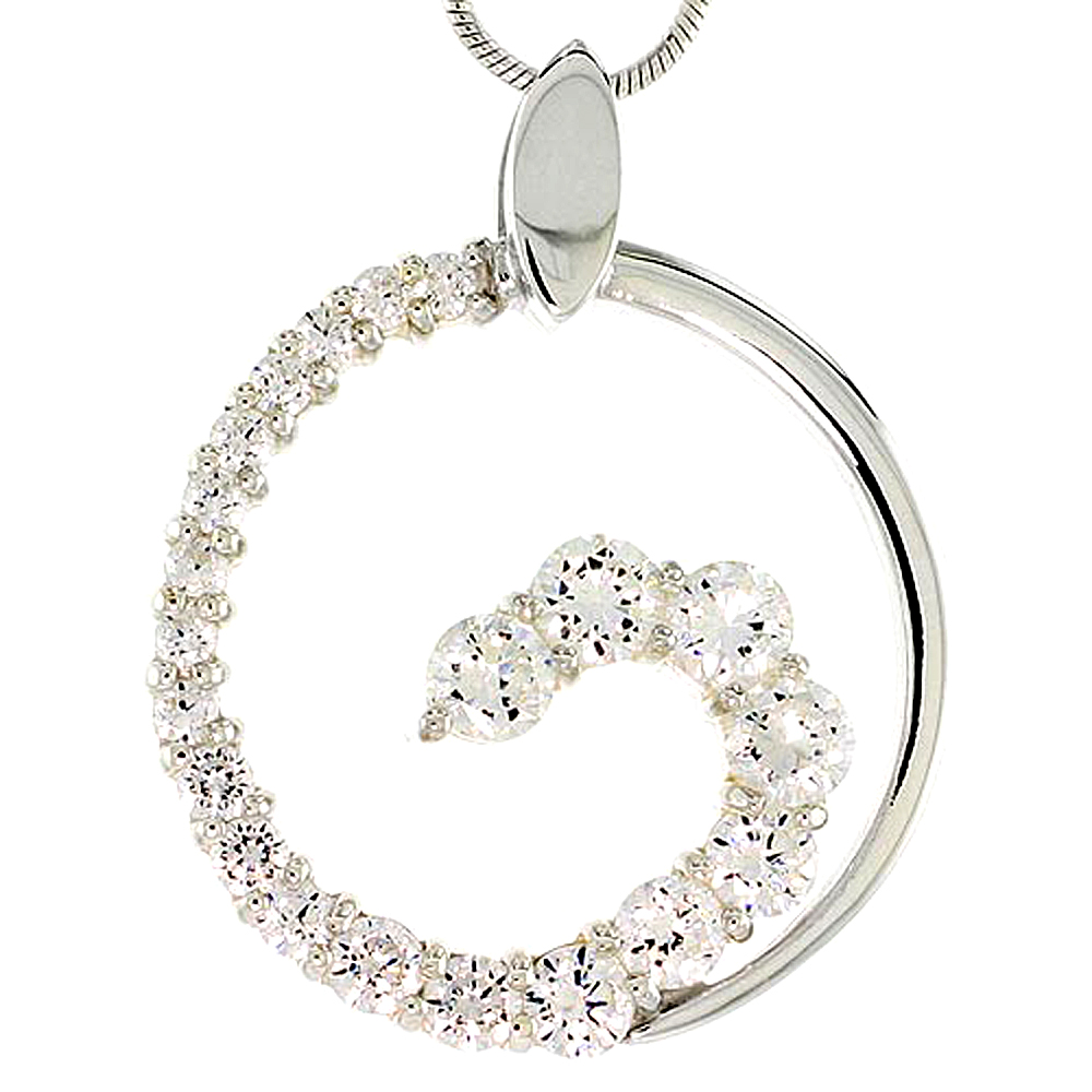 "Sterling Silver Graduated Journey Pendant w/ 21 High Quality CZ Stones, 1"" (25 mm) tall"