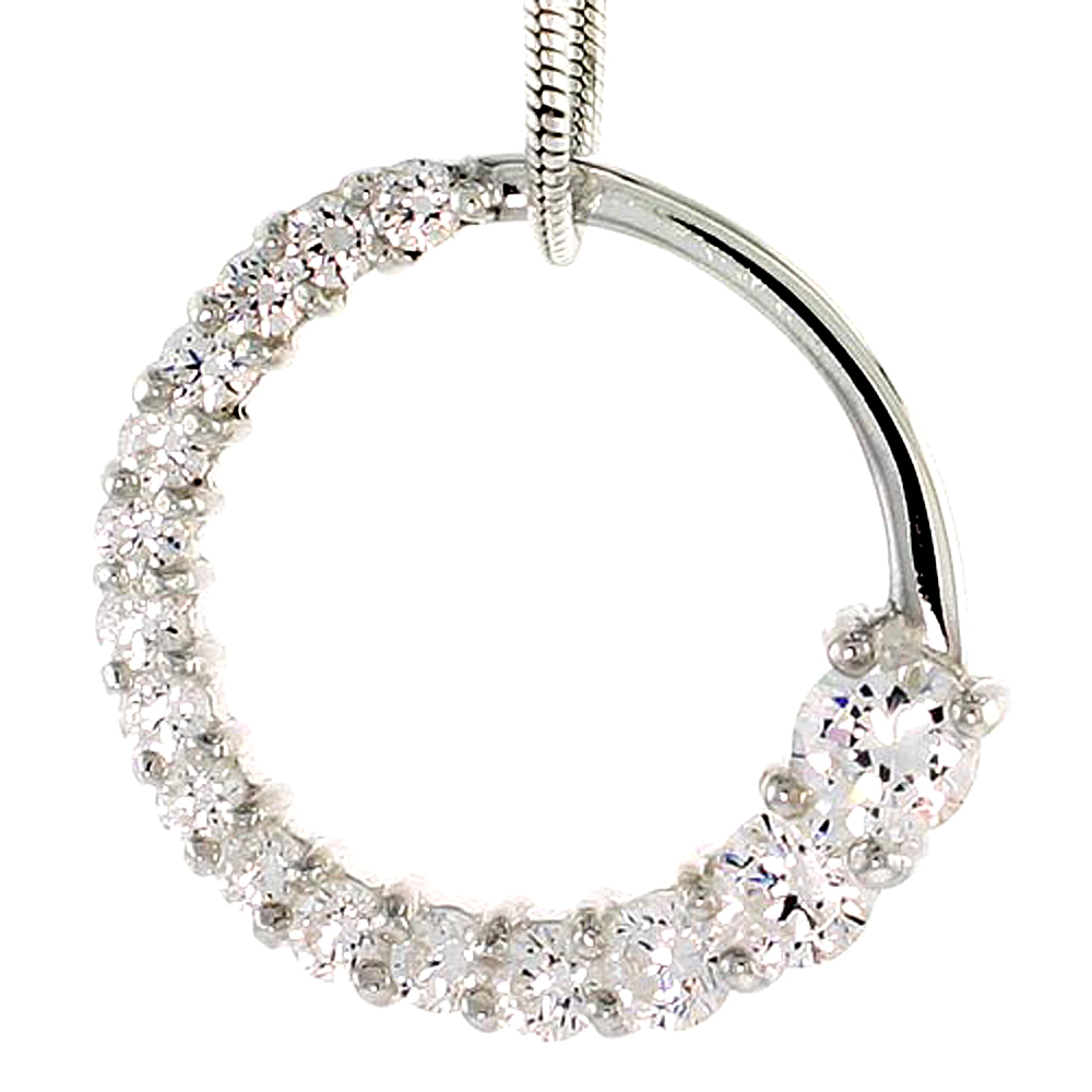 "Sterling Silver Graduated Journey Pendant w/ 16 High Quality CZ Stones, 3/4"" (19 mm) tall"