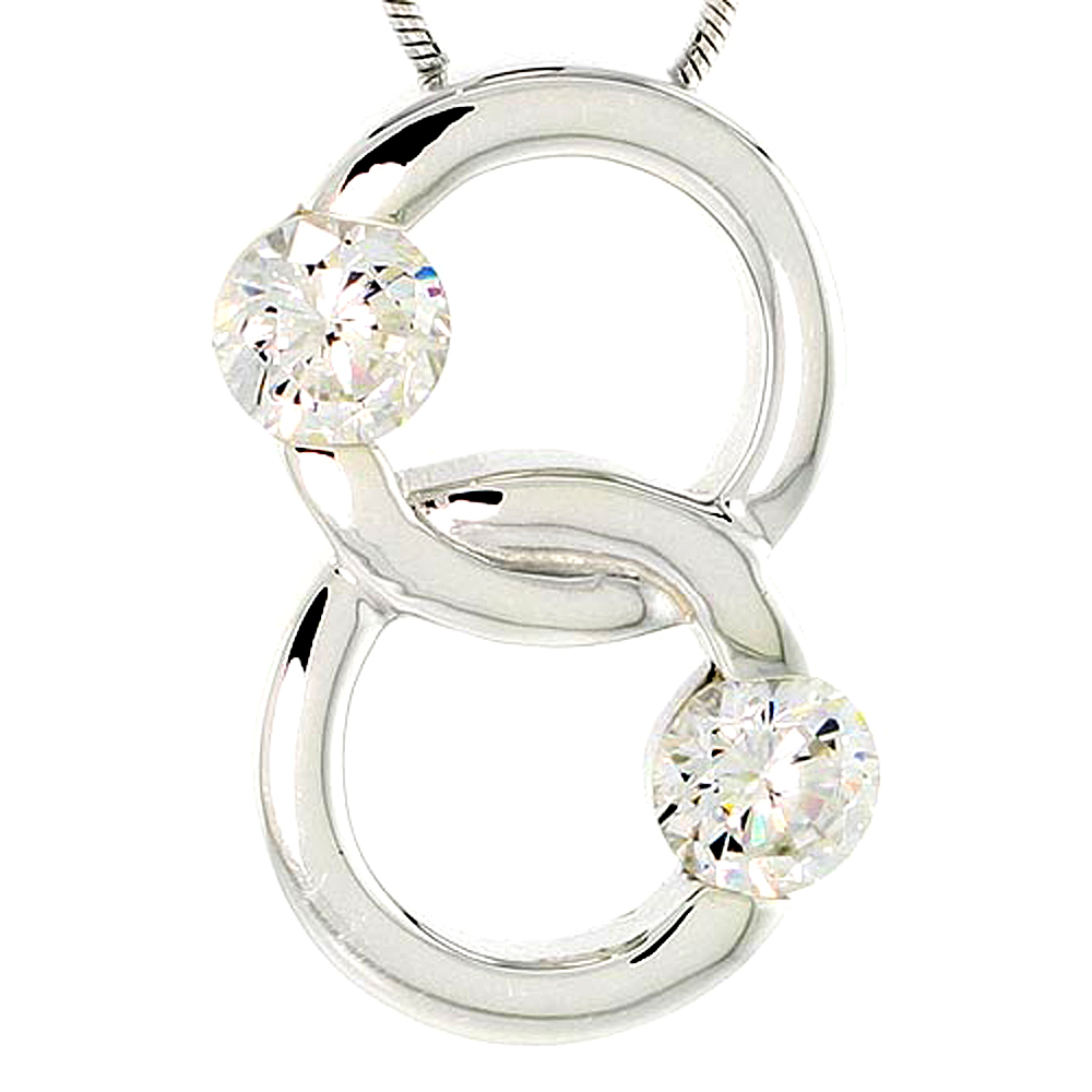 "Sterling Silver Overlapping Circles Pendant w/ 6mm High Quality CZ Stones, 1"" (25 mm) tall"