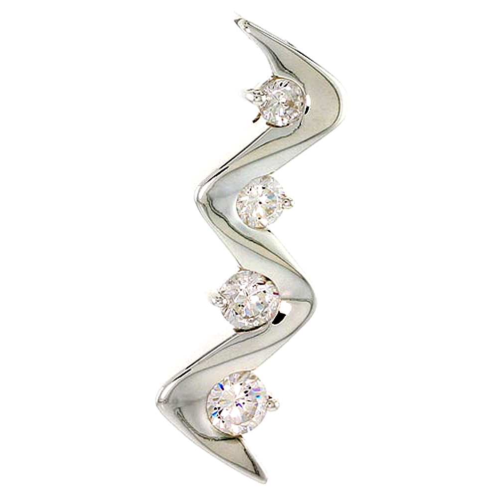 "Sterling Silver Graduated Journey Zigzag Pendant w/ 4 High Quality CZ Stones, 1 5/16"" (34 mm) tall"