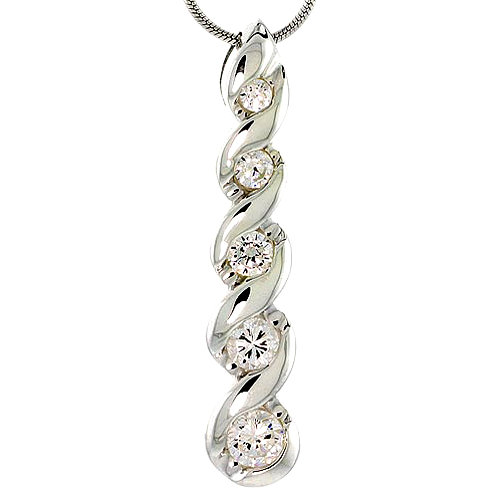 "Sterling Silver Graduated Journey Pendant w/ 5 CZ Stones, 1 7/8"" (36mm) tall"