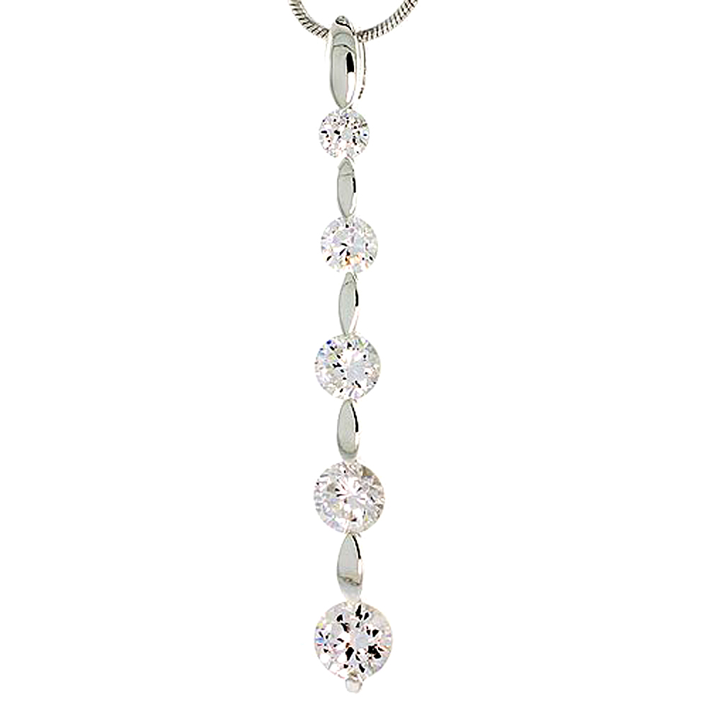 "Sterling Silver Graduated Journey Pendant w/ 5 High Quality CZ Stones, 1 13/16"" (47 mm) tall"