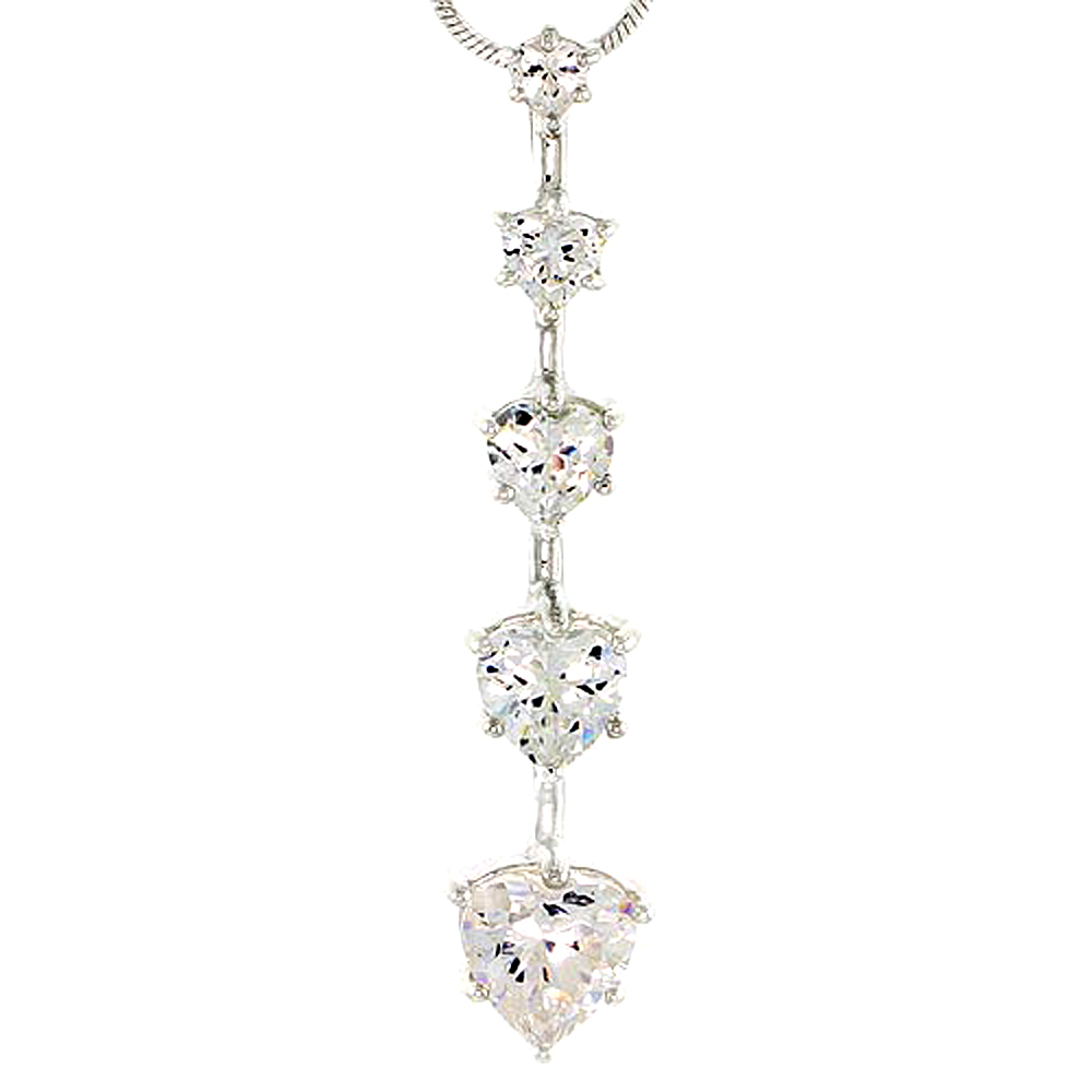 "Sterling Silver Graduated Journey Pendant w/ 5 Heart-shaped High Quality CZ Stones, 1 5/8"" (42 mm) tall"