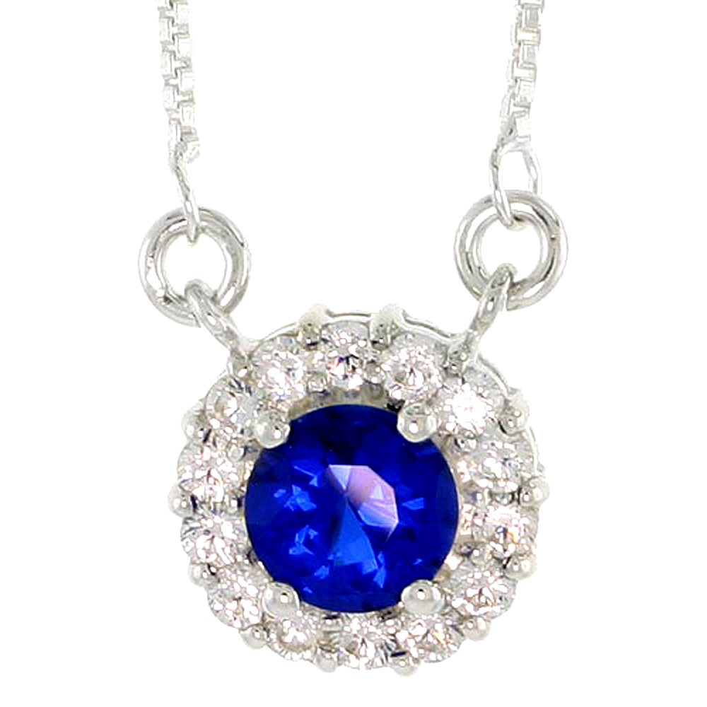 "Sterling Silver Journey Pendant w/ 7mm Round Cut Synthetic Sapphire & High Quality CZ Stones, 1/2"" (13 mm) tall"