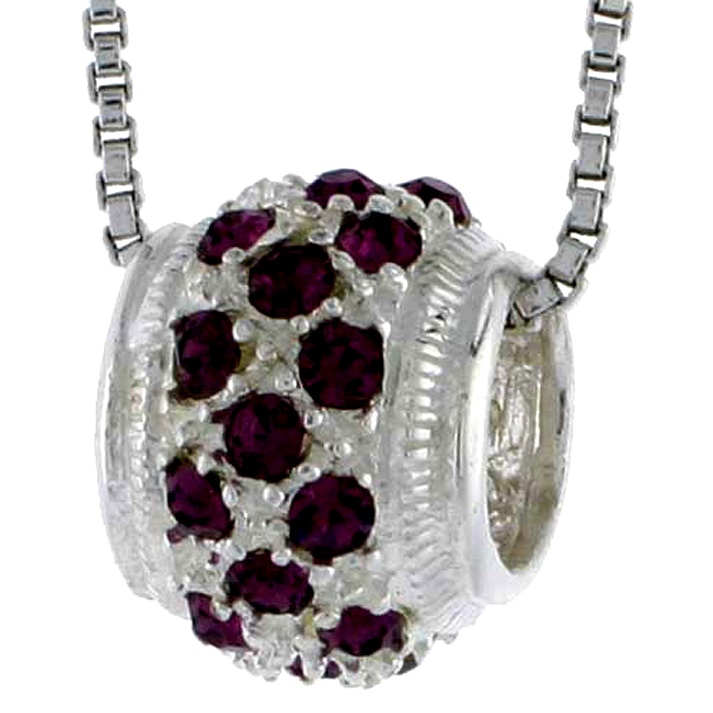 "High Polished Sterling Silver 7/16"" (11 mm) tall Bead Charm, w/ Brilliant Cut CZ Stones, w/ 18"" Thin Box Chain"