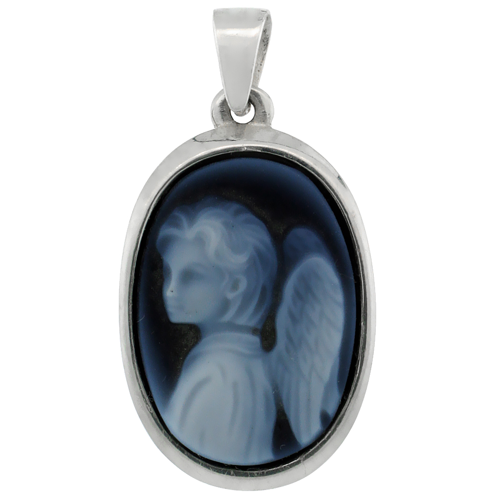 Sterling Silver Natural Blue Agate Cameo Angel Pendant 18x13mm