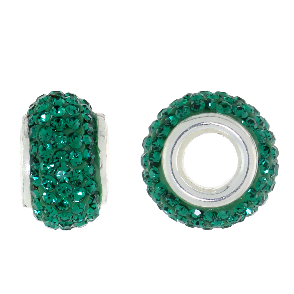 Sterling Silver Crystal Charm Bead Emerald Color Charm Bracelet Compatible, 13 mm
