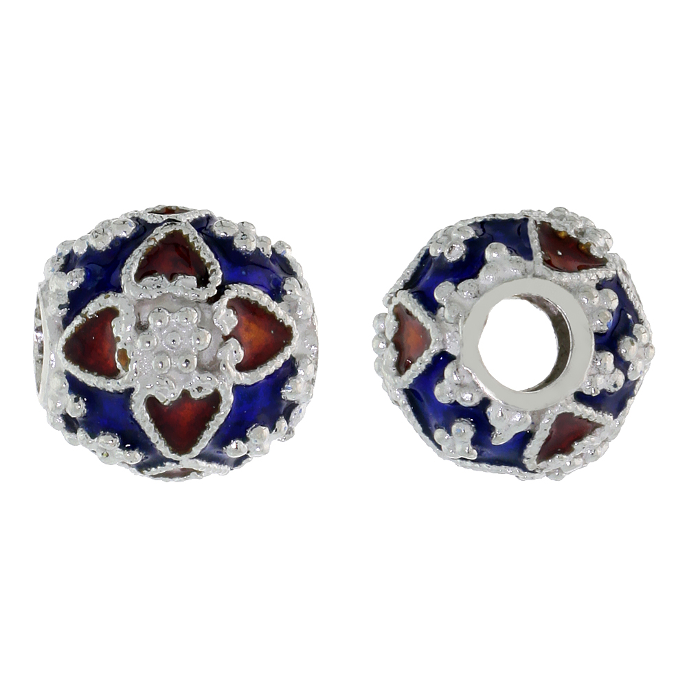 Sterling Silver Enameled Filigree Charm Bead Vintage Russian Style, Charm Bracelet Compatible, 7/16 inch