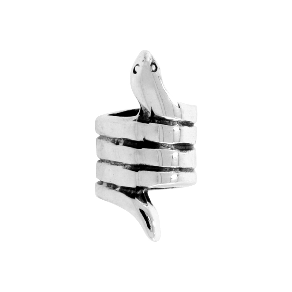 Sterling Silver Snake Bead Charm for most Charm Bracelets
