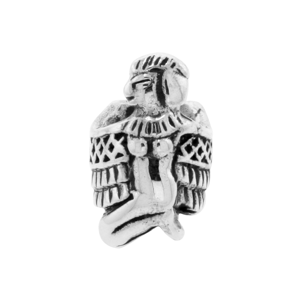 Sterling Silver Nekhbet Charm Egyptian Goddess Bead Charm for most Charm Bracelets