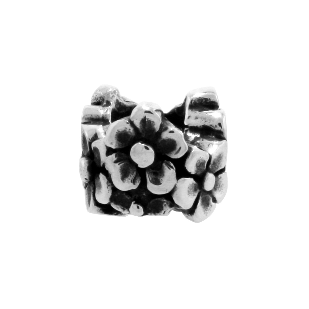 Sterling Silver Floral Bead Charm for most Charm Bracelets