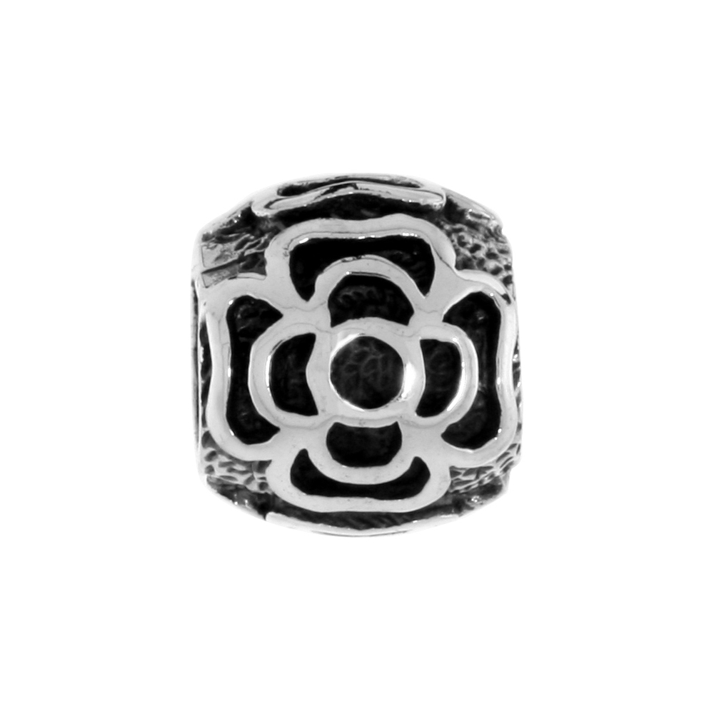 Sterling Silver Floral Barrel Bead Charm for most Charm Bracelets