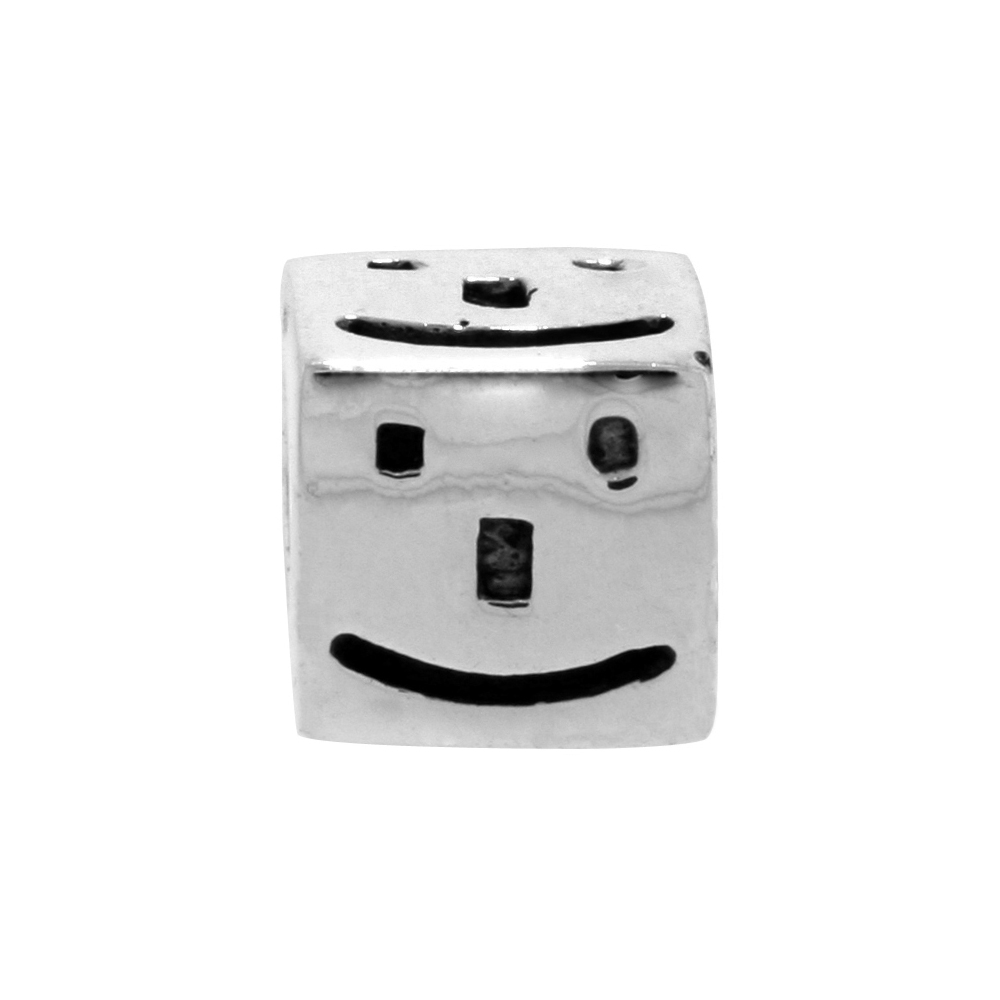Sterling Silver Happy Face Cube Bead Charm for most Charm Bracelets
