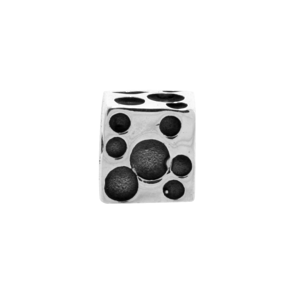Sterling Silver Bubble Cube Bead Charm for most Charm Bracelets