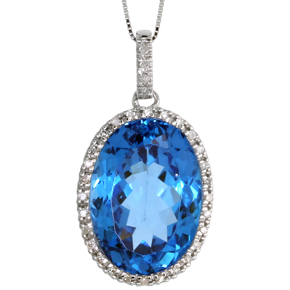 "14k White Gold 18"" Chain & 1 1/8"" (29mm) tall Blue Topaz Pendant, w/ 0.25 Carat Brilliant Cut Diamonds & 17.45 Carats 18x12mm Oval Cut Blue Topaz Stone"