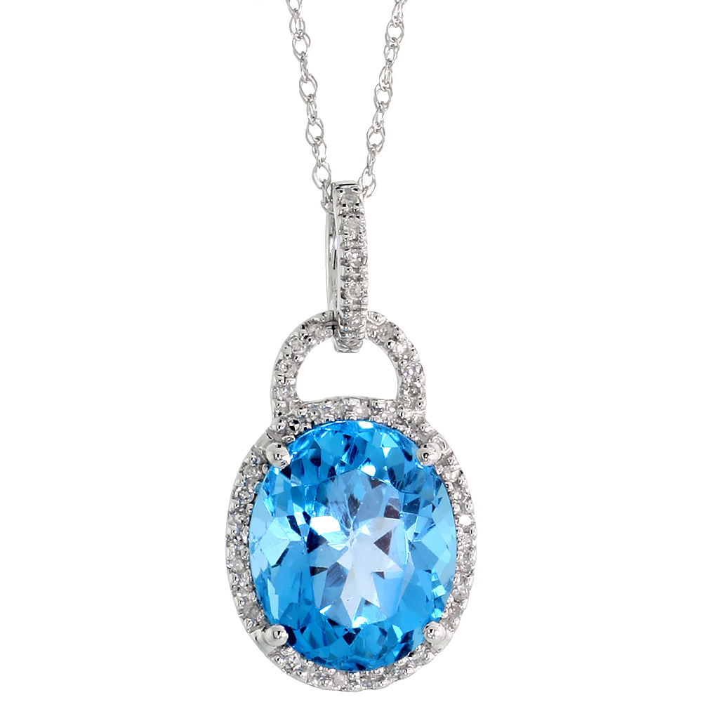 "14k White Gold 18"" Chain & 7/8"" (23mm) tall Blue Topaz Pendant, w/ 0.15 Carat Brilliant Cut Diamonds & 4.70 Carats 11x9mm Oval C"