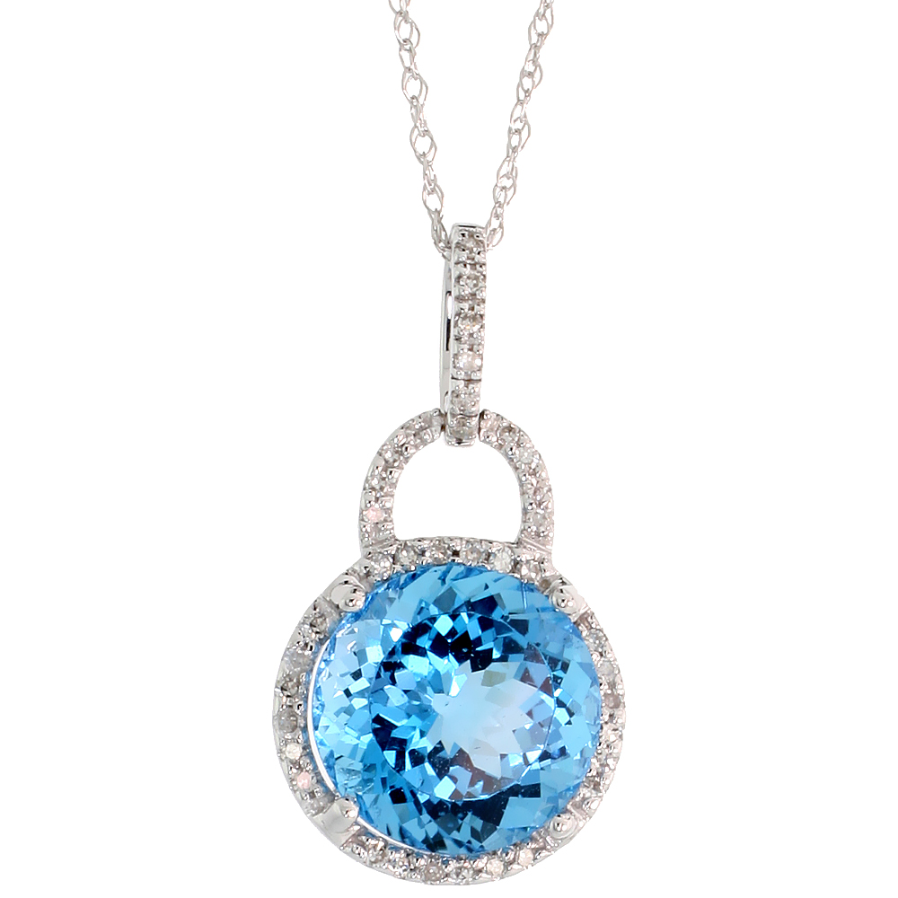 "14k White Gold 18"" Chain & 7/8"" (23mm) tall Blue Topaz Pendant, w/ 0.12 Carat Brilliant Cut Diamonds & 4.96 Carats 10mm Brilliant Cut Blue Topaz Stone"