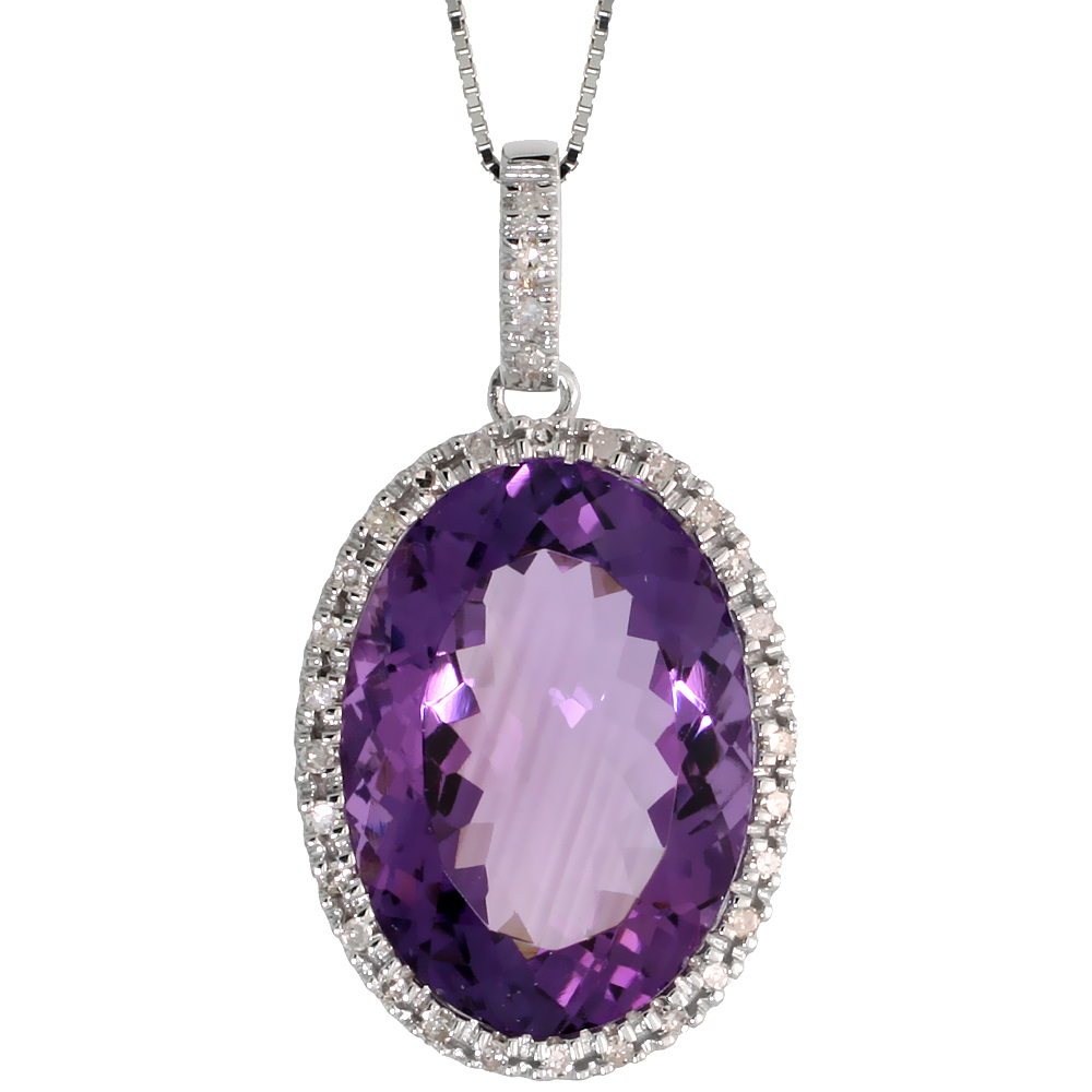 "14k White Gold 16"" Chain & 1 1/8"" (29mm) tall Amethyst Pendant, w/ 0.28 Carat Brilliant Cut Diamonds & 13.85 Carats 18x12mm Oval"
