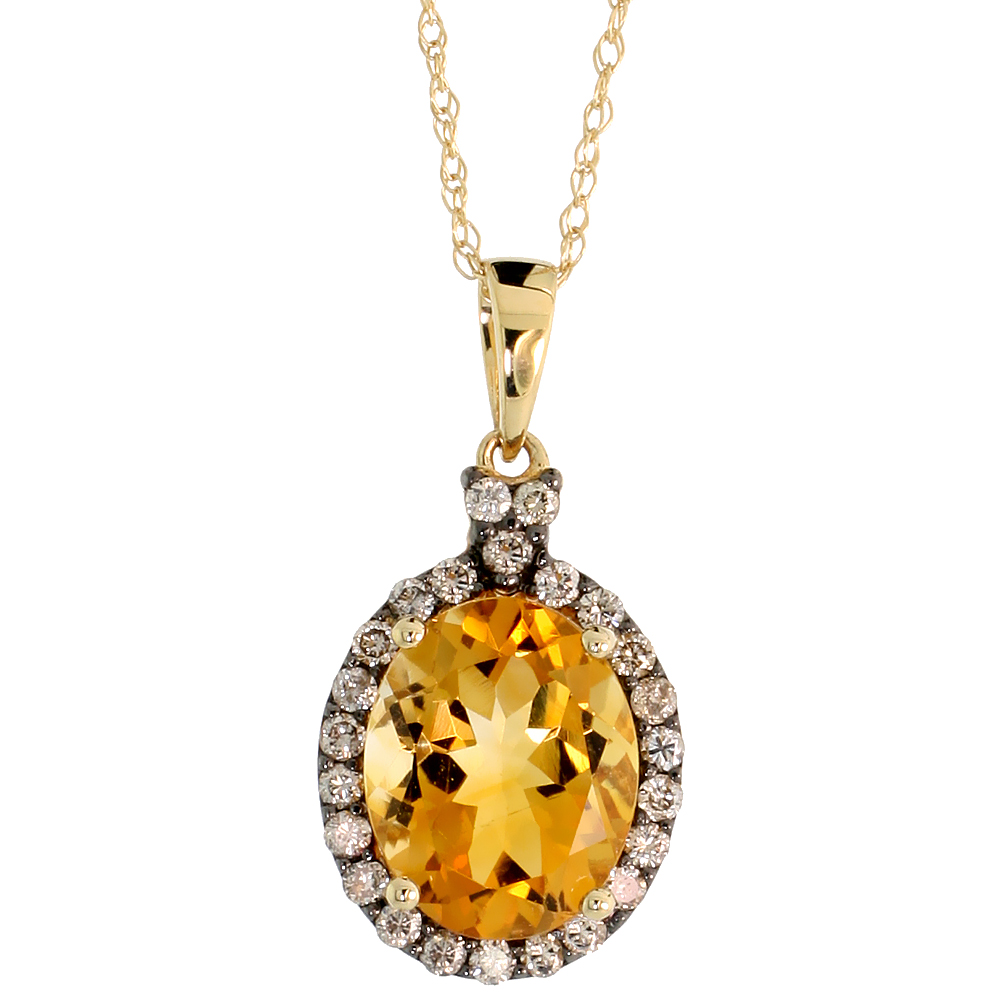 "14k Gold 18"" Chain & 5/8"" (16mm) tall Oval Pendant, w/ 0.27 Carat Brilliant Cut Diamonds & 2.85 Carats 10x8mm Oval Cut Citrine Stone"