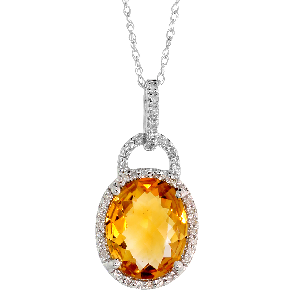 "14k White Gold 18"" Chain & 7/8"" (23mm) tall Citrine Pendant, w/ 0.15 Carat Brilliant Cut Diamonds & 4.70 Carats 11x9mm Oval Cut"