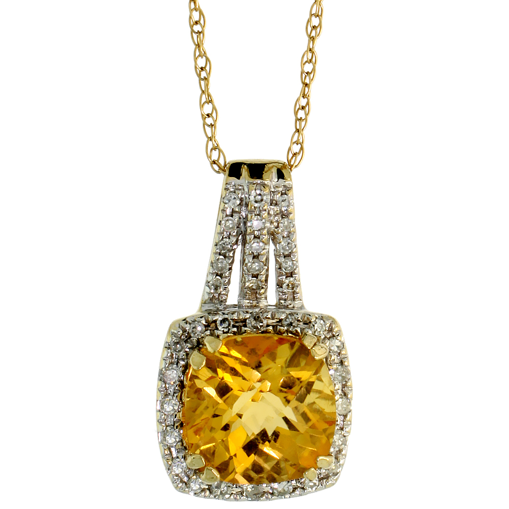 "14k White Gold 18"" Chain & 3/4"" (19mm) tall Fancy Diamond Pendant, w/ 0.18 Carat Brilliant Cut Diamonds & 2.10 Carats 8mm Cushion Cut Citrine Stone"