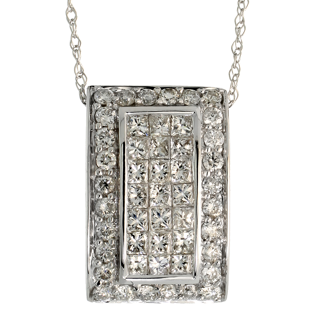 "14k White Gold 18"" Chain & 5/8"" (16mm) tall Rectangular Diamond Pendant Slide, w/ 1.10 Carats Brilliant Cut & Invisible Set Diam"