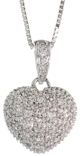 "14k White Gold 17"" Box Chain & 3/4"" (19mm) tall Diamond Heart Pendant, w/ 0.30 Carat Brilliant Cut Diamonds"