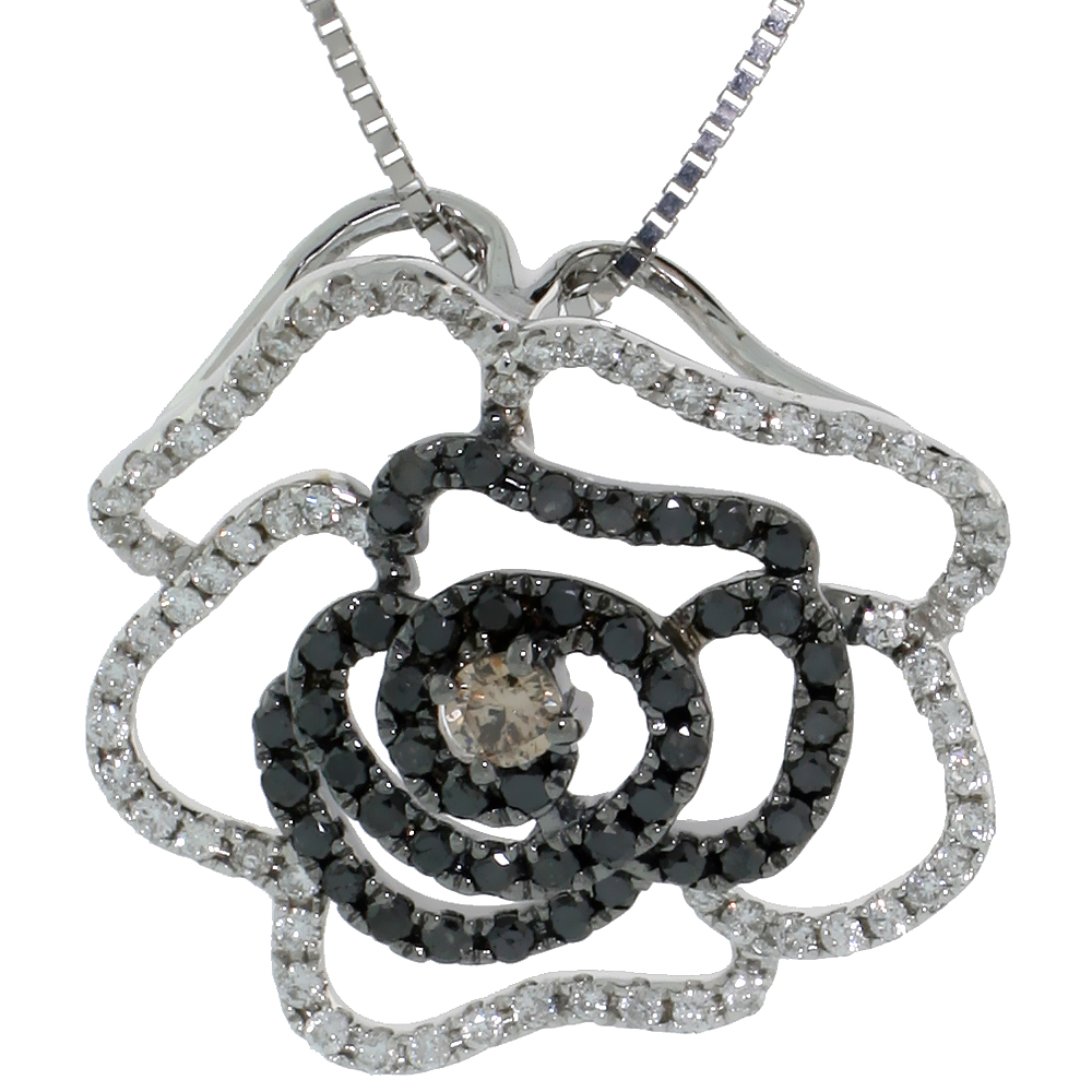 "14k White Gold 18"" Box Chain & 3/4"" (19mm) tall Flower Diamond Pendant, w/ 0.70 Carat Brilliant Cut White, Black & Fancy Brown Diamonds"