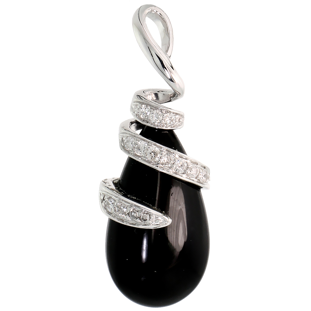 "14k White Gold 1 3/16"" (30mm) tall Teardrop Onyx Pendant, w/ 0.19 Carat Brilliant Cut Diamonds"