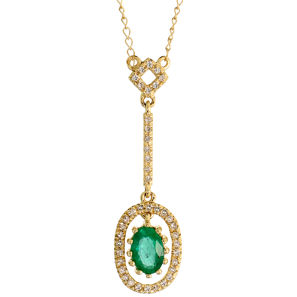 "14k Gold 18"" Chain & 1 1/8"" (28mm) tall Oval Diamond Pendant, w/ 0.16 Carat Brilliant Cut Diamonds & 0.50 Carat Oval Cut Emerald"