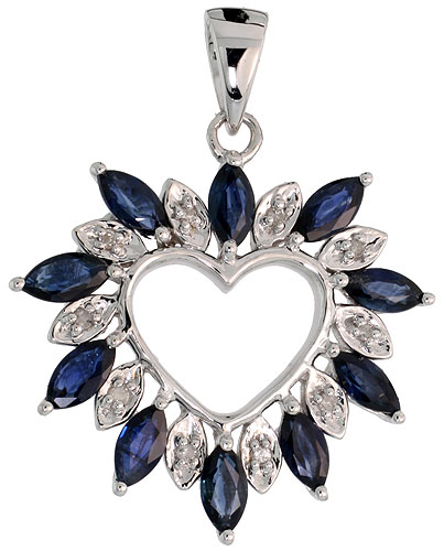 "14k White Gold 15/16"" (24mm) tall Diamond Heart Pendant, w/ 1.25 Total Carat Weight Marquise Cut Blue Sapphire Stones & Brilliant Cut Diamonds"