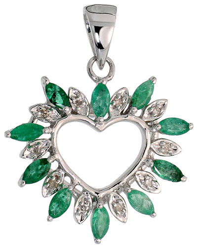"14k White Gold 15/16"" (24mm) tall Diamond Heart Pendant, w/ 1.25 Total Carat Weight Marquise Cut Emerald Stones & Brilliant Cut Diamonds"