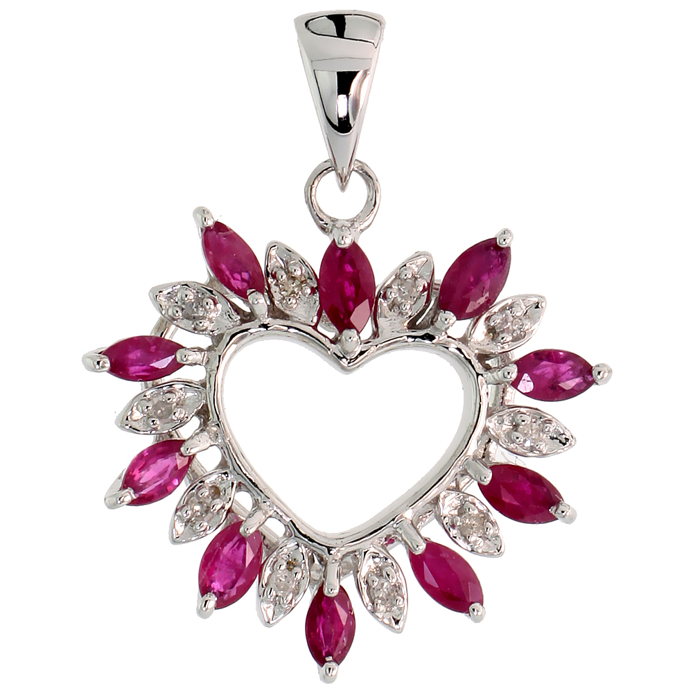 "14k White Gold 15/16"" (24mm) tall Diamond Heart Pendant, w/ 1.25 Total Carat Weight Marquise Cut Ruby Stones & Brilliant Cut Dia"