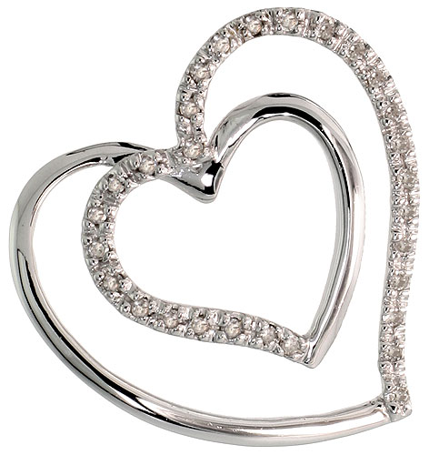"14k White Gold 13/16"" (21mm) tall Double Heart Diamond Pendant, w/ 0.15 Carat Brilliant Cut Diamonds"