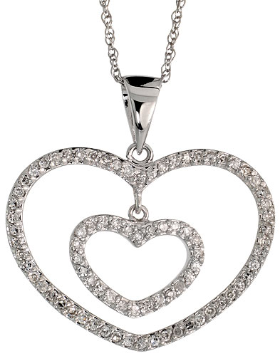 "14k White Gold 18"" Chain & 5/8"" (16mm) tall Double Heart Diamond Pendant, w/ 0.24 Carat Brilliant Cut Diamonds"