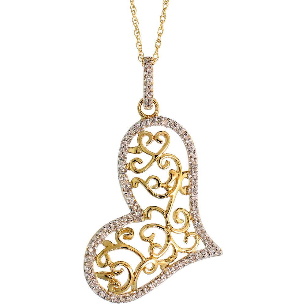 "14k Gold 18"" Chain & 1 3/8"" (36mm) tall Filigree Heart Diamond Pendant, w/ 0.22 Carat Brilliant Cut Diamonds"