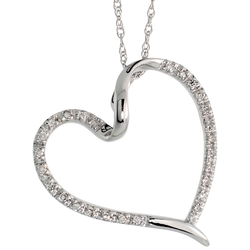 "14k White Gold 18"" Chain & 13/16"" (21mm) tall Diamond Heart Pendant, w/ 0.15 Carat Brilliant Cut Diamonds"
