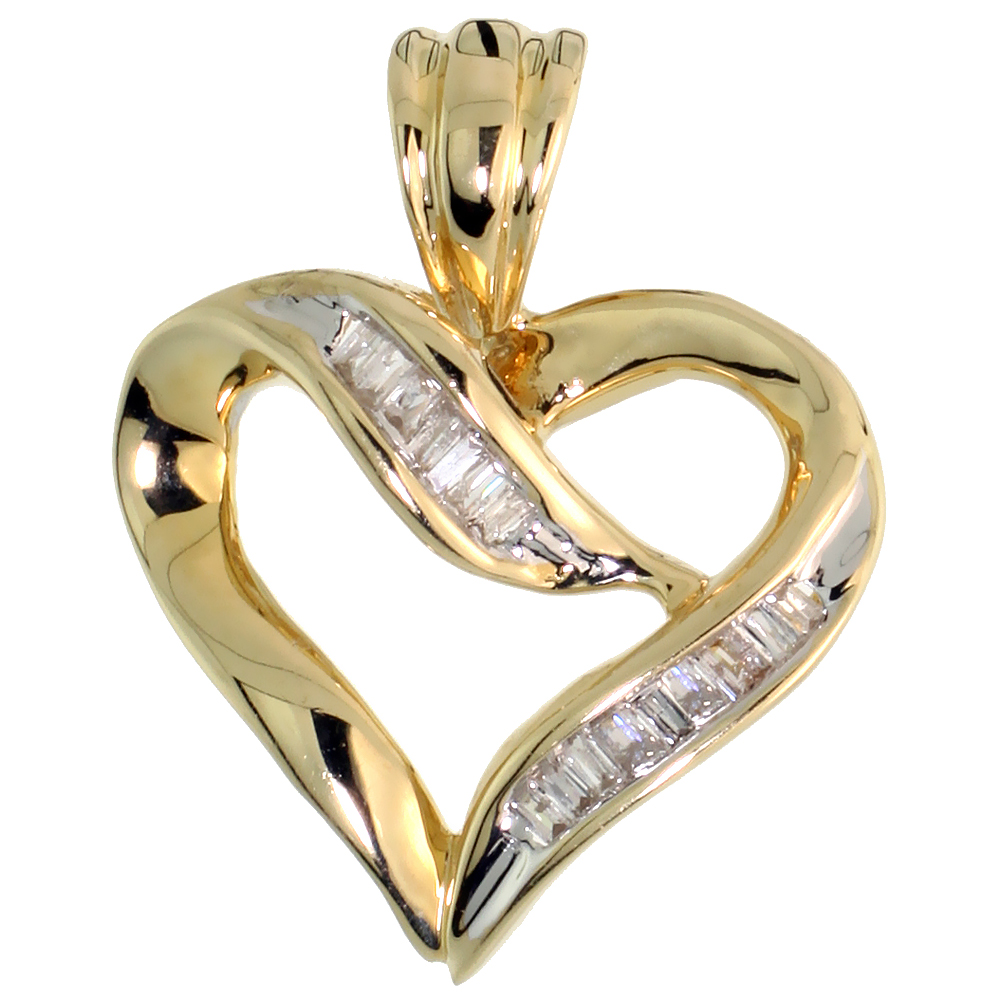 "14k Gold Diamond Heart Pendant, w/ 0.20 Carat Baguette Diamonds, 9/16"" (14mm) tall"