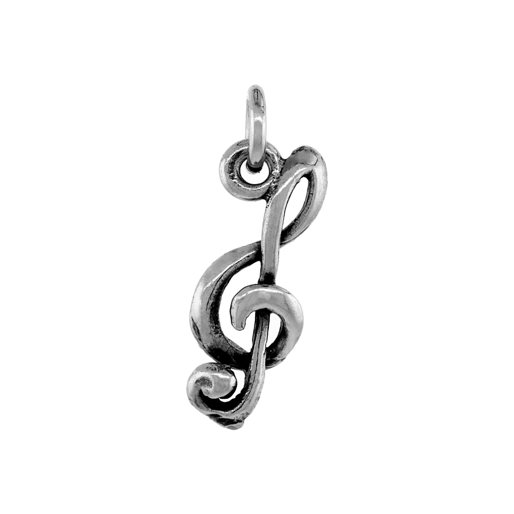 Sterling Silver G-clef Pendant Antiqued finish 3/4 inch