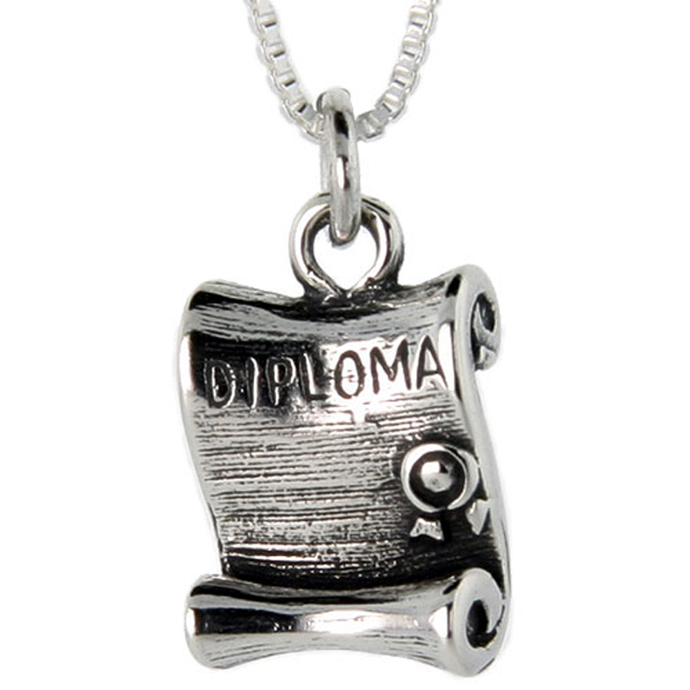 Sterling Silver Diploma Charm Pendant
