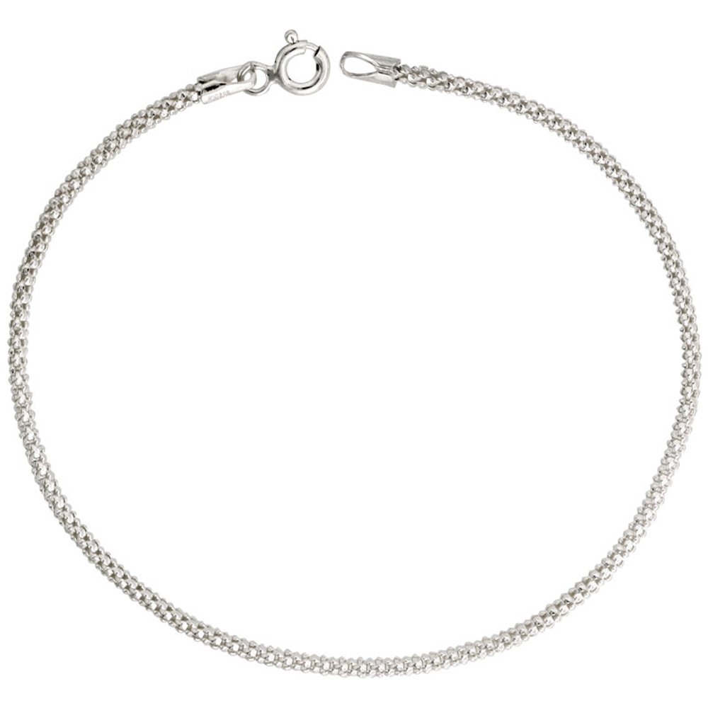 Sterling Silver Popcorn Chain 1.8mm Light Weight Nickel Free Italy, sizes 16 - 20 inch