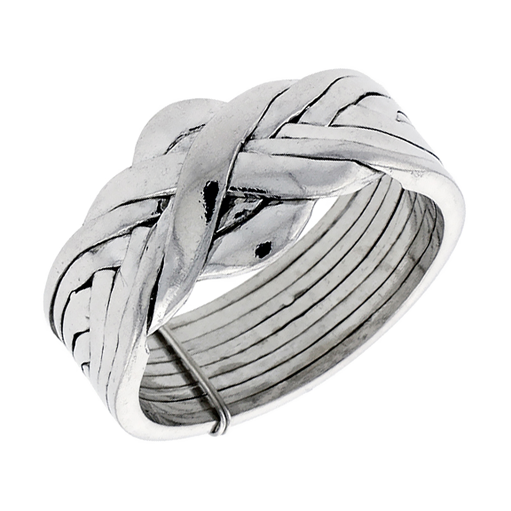 Sterling Silver 8-Piece Love Knot Braided Design Puzzle Ring Band, 1/2 in. (12 mm) wide