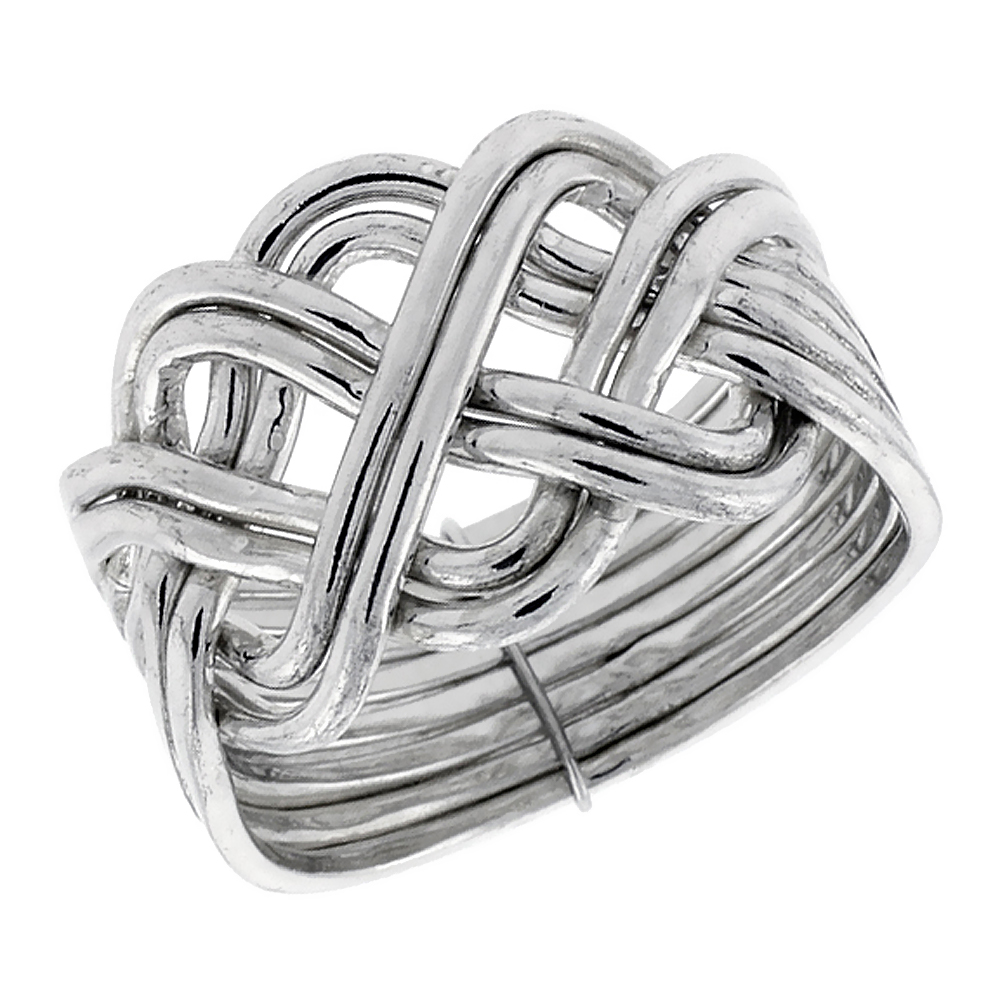 Sterling Silver 8-Piece Braided Celtic Loop Design Puzzle Ring Band, 5/8 in. (16 mm) wide