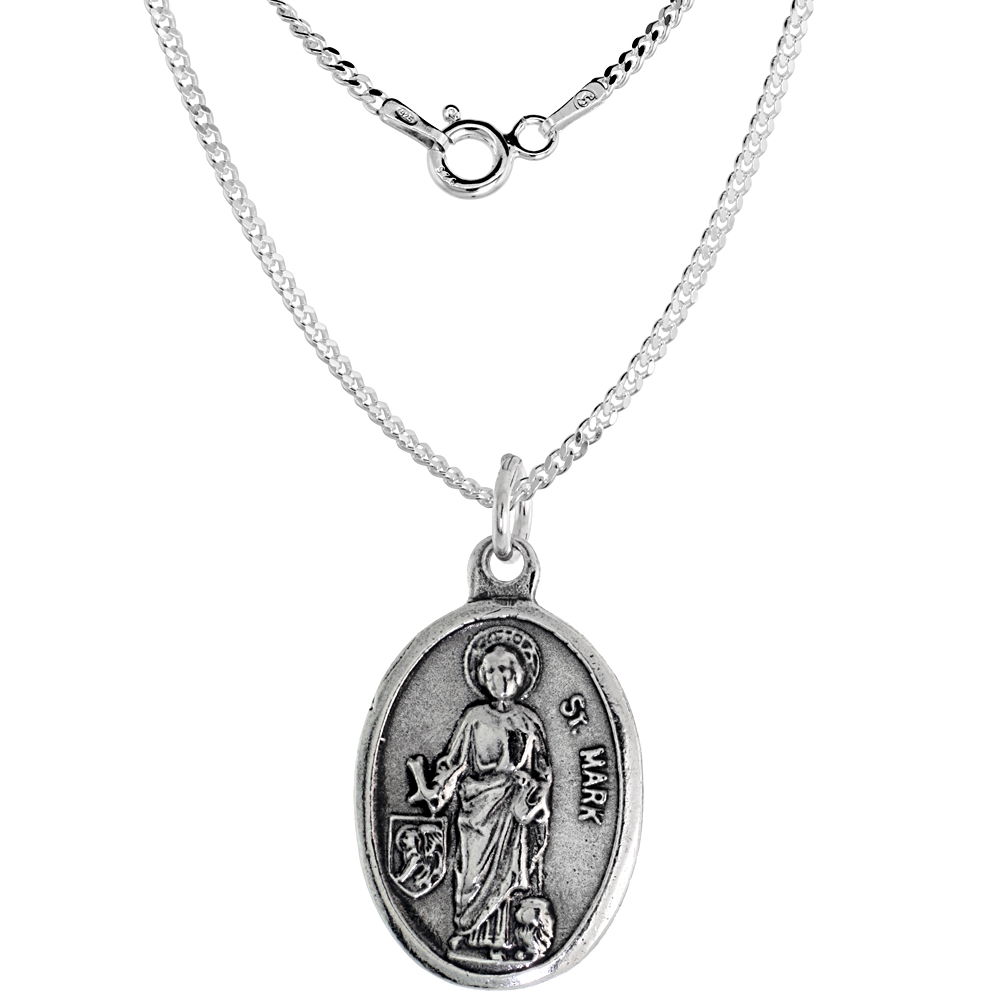 Sterling Silver St Mark Medal Necklace Oval 1.8mm Chain